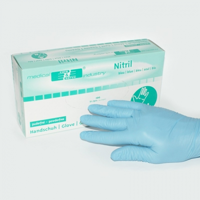 Nitril Handschuhe puderfrei latexfrei blau groß (100 Stück)